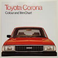 1982 Toyota Corona Colour and Trim Chart original Australian sales brochure