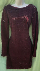 Lipsey London Size 12 Burgundy Red Sequinned Long Sleeve Fitted Dress