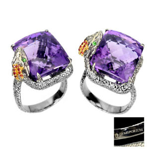 Handmade Octagon 25ct Purple Amethyst Sapphire 925 Silver Dragon Ring Size 10 Nr