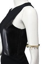 Women Gold Metal High Arm Cuff Bracelet Fashion Jewelry Skinny Wrap Around Coins