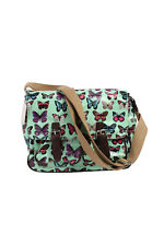 Vintage Look Ladies Hipster Cosy Butterfly Messenger Bag - Green - BG349