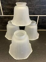 4 Vtg Frosted Glass Beaded Hobnail Ruffled Fluted Light Globes Shades Fan