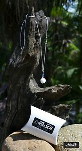 Handmade necklace / pendant with Sterling Silver, White Jade & Glass Beads.