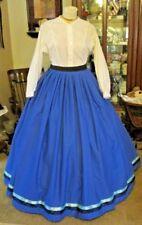CIVIL WAR DRESS SKIRT~VICTORIAN STYLE LOVELY 100% COTTON ROYAL BLUE SKIRT
