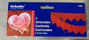 2 x RED LOVE HEART GARLANDS 2m VALENTINES WEDDING DECORATIONS PARTY HANGING NEW