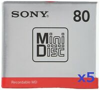 Sony MD Blank Minidisc 80 Minutes Recordable MD MDW80T 5 packs From Japan