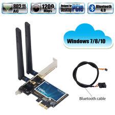 1200Mbps Desktop PCIE WiFi Network Card Dual Band Bluetooth 4.0 802.11ac Windows