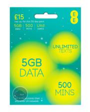 EE COMBI MICRO & STANDARD SIM CARD PAY AS YOU GO - 4G SIM 5GB DATA 500 MINS 4GEE