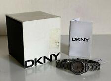 NEW! DKNY DONNA KARAN GUNMETAL GLITZ CRYSTALS BRACELET WATCH NY8684 $195 SALE