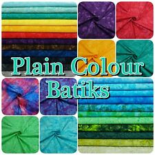 Bright Multi-Coloured 100% Cotton Hand Dyed PLAIN Batik Patchwork Craft Fabric