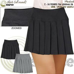 Girls Ladies All Round Pleated School Uniform Skirt With Side Zip 7-16 UK 8 20
