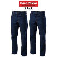 Mens Hard Yakka Denim Jeans 2pk Work Pants Industry Agri Rigid Farm Tough Y03514