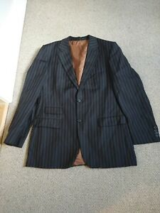 Men's  Hugo Boss Suit Jacket Black  Striped Size XL Worn Once