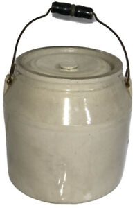 Unbranded Large Heavy Kitchen Crock Pot Flour Pot with Lid & Wire & Wood Handle