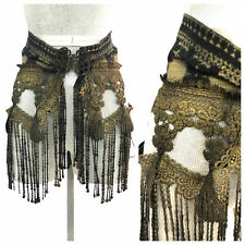 Vintage VTG 80s 1980s Hand Dyed Marian Clayden Black Gold Lace Fringe Belt