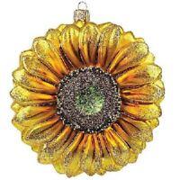 Sunflower Polish Glass Christmas Ornament Made in Poland Decoration