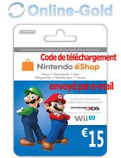 Nintendo Eshop CARD 15€ Carte de Jeu Console compatible 3DS/Wii U/Switch[NEUF]