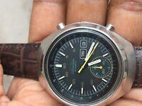 Vintage Seiko Mens Helmet Chronograph 6139-7100 Steel watch Keeping time great