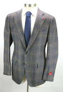NWT $4150 ISAIA Wool Cashmere Silk Linen Coat Jacket 42 R (52 EU) Dustin Check