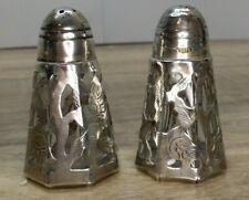 Mexico Sterling Silver Floral Design Salt & Pepper Shakers