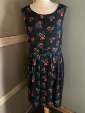 Ness Blue Floral Check Sleeveless Dress Size 14