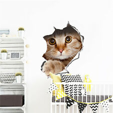View Hole Vivid Cats 3D Wall Sticker Bathroom Toilet Living Room Decals Stickers