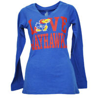 NCAA Kansas Jayhawks Love Womens Ladies Long Sleeve V Neck Blue Tshirt Tee KU