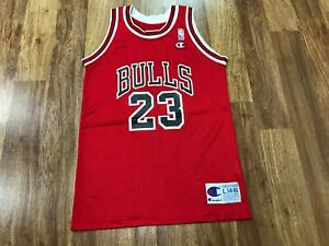 BOYS L 14-16 - Vtg NBA Chicago Bulls #23 Jordan Champion Print Jersey USA