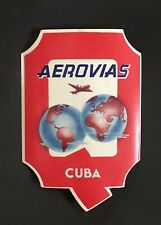 Aerovias Cuba Airline Vintage Aviation Airline Passenger Baggage Label