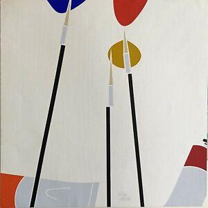 Emilio Tadini serigrafia a colori Composizione 50x50 firmata numerata 20/99