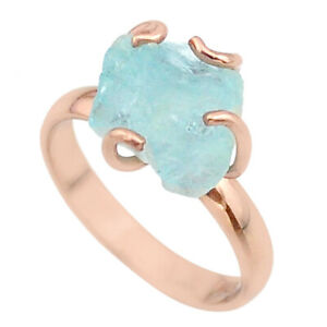 Factory Direct Sale 5.68cts Aquamarine Raw 14k Rose Gold Ring Size 8 T36858