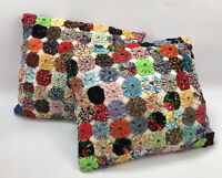 Set of 2 Adorable Vintage Handmade Retro Pinwheel Quilted Quilt Throw Pillows AA