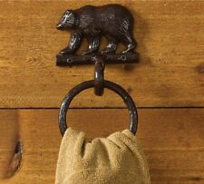 New Rustic Country Cabin Lodge Bath GRIZZLY BEAR TOWEL RING Wall Bar Holder
