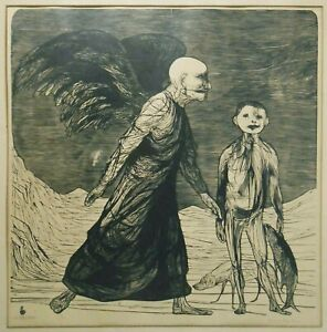 RARE LEONARD BASKIN (US/1922-2000) TOBIAS & THE ANGEL PNCL SGND W/B #83/300 FRMD
