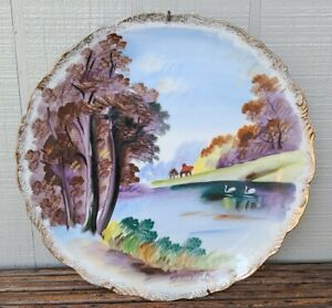 Hand Painted Decorative Plate Country Stream with swans and trees Artist Signed