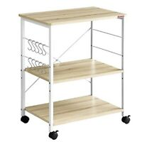 Baker's Rack 3-Tier Kitchen Utility Microwave Oven Stand Storage Cart w/Hooks
