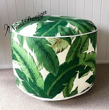 TOMMY BAHAMA GREEN/ WHITE SWAYING PALM FLOOR CUSHION/POUF/OTTOMAN/ CUSHION COVER