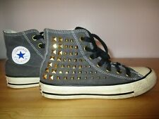 Converse Chuck Taylor All Stars Grey Studded High Tops Canvas Trainers Size UK 3