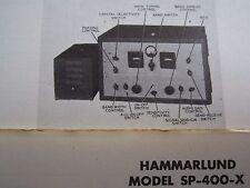 Hammarlund Sp-400-X Short Wave Radio Receiver Photofact