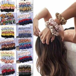 Set Haargummis Scrunchie Haarbänder Glänzend Satin Chiffon Samt vintage Trend