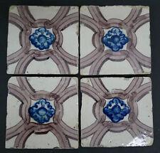 Antique Portuguese Tiles - Set of 4 Floral Blue Flower