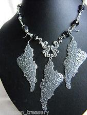 ART NOUVEAU NECKLACE EARRINGS SET ANGEL WING TOURMALINE gemstone wicca LAST ONE