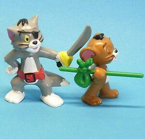 Tom und Jerry BULLY 1984 Tom als Pirat + Jerry grünes Bündel  2 Figuren zusammen