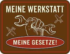 Fun Schild Meine Werkstatt Gesetze Alu Blechschild geprägt bedruckt Geschenk