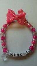 Personalised Dummy Clips - Baby girl - Sparkly Pink Bow - (Any Name) - Handmade