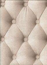 Padded Fabric Headboard Chesterfield Effect Feature Wallpaper Beige 44861407