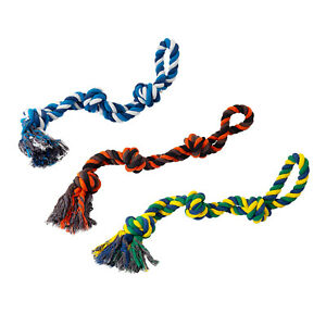 LARGE Dog Rope Braided Plaited Knotted Chew Fun Tough Strong Tug War Play Toy UK