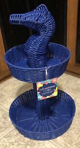 """Ciroa Hello Summer Seahorse Resin Wicker Serving 2 Tier Serving Stand 20"""" New"""