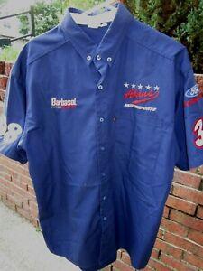 Vintage AKINS MOTORSPORTS BARBASOL RACING BUSCH Series pit crew shop shirt - L