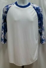 Pre-owned Adidas 3/4 Sleeve White & Blue Baseball Shir 00006000 t Size M C262